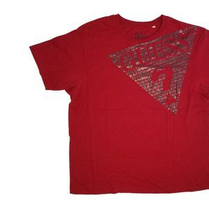 Red XXL Guess Jeans Graphic V-Neck T Shirt